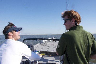 Bryan Williams and Cole Henry enjoy a laugh during a terrific day of fishing.