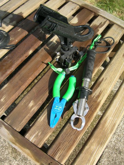 Boga-Grips and pliers help land and de-hook toothy saltwater catches. An extra portable rod holder may come in handy, too!
