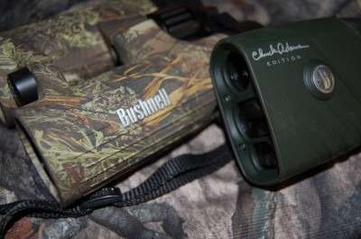 While the rubberized outer coating on your binoculars and rangefiner will not technically hold smells, you really need to wipe them down with a scent-free wipe. Image courtesy Derrek Sigler.