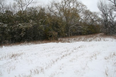 Ground blinds work great for late-season bucks because they offer protection from the elements and if you put them in-place early, the deer become accustomed to their presence.