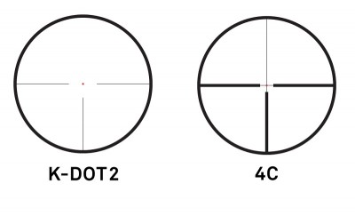 Two reticle options are available – the K-Dot 2 or the 4C-RD.