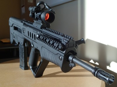 The PRO mounted to the author's Tavor SAR. The red dot facilitated very quick target acquisition and tight shot groups.