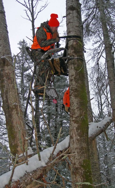 A hunter at the Old T deer camp in northwestern Wisconsin descends from a ladder stand where Chris White shot his eight-point buck on opening day of the state's firearms deer season.