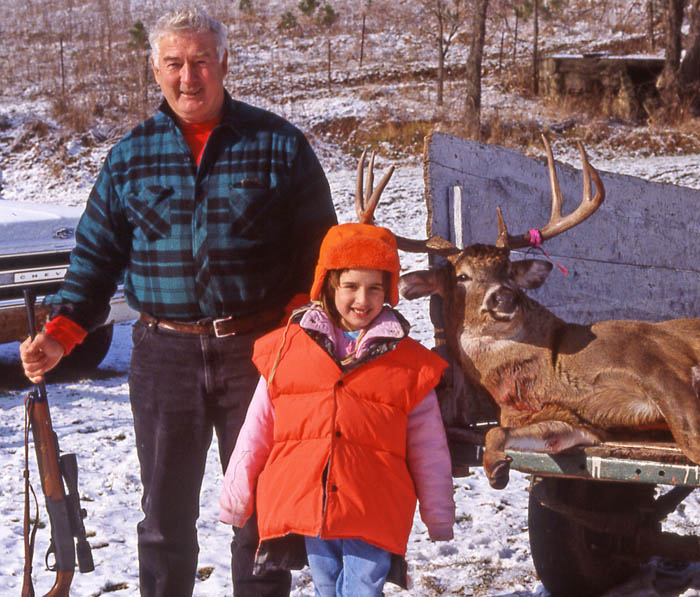 """Joseph """"Terry"""" Durkin and Leah Durkin pose with a buck he shot on his farm in Richland County, Wisconsin, in November 1991."""