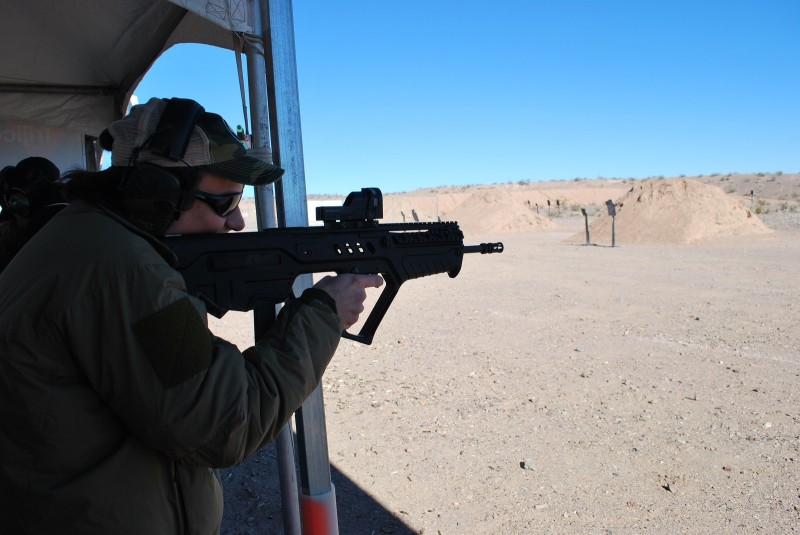 One-handing the 9mm Tavor is very fun.