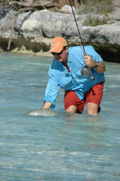 Guests at some popular winter vacation destinations in the Bahamas, such as Kamalame Cay resort, can step out their door and be wading for bonefish. Image by Maria Armitage.
