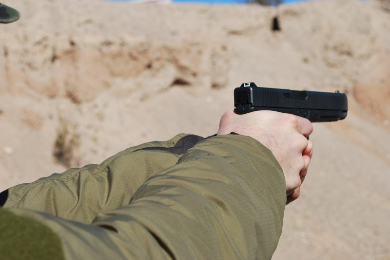 The author firing the Glock 41.