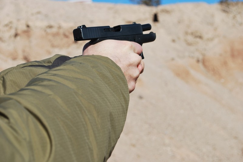 The Glock 42 mid-recoil.