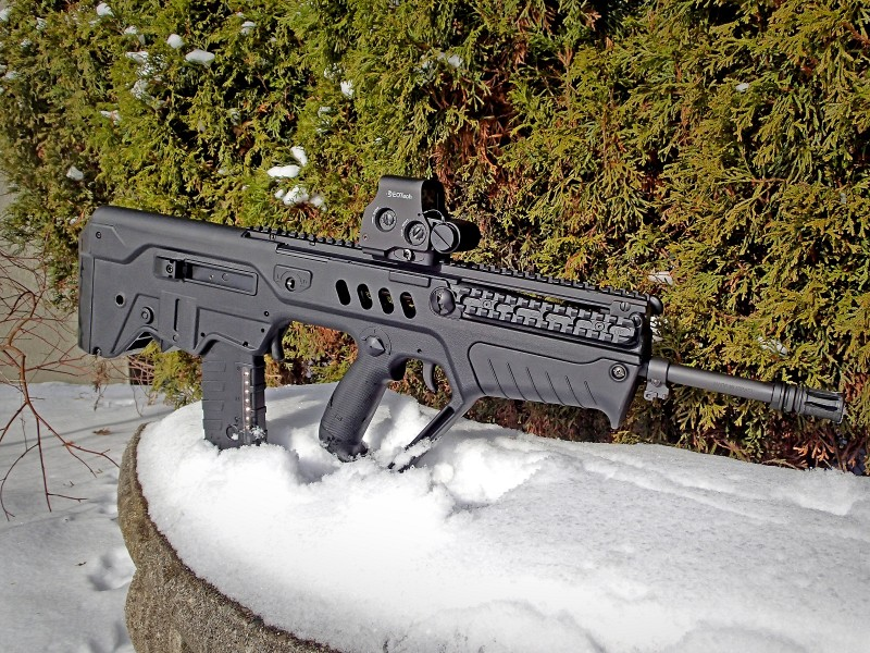 A right-side view of the author's Tavor. At just over 27.5 inches long, the rifle is very compact.
