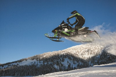 Longer tracks tend to provide better flotation and traction in deeper snow. Image courtesy Arctic Cat.