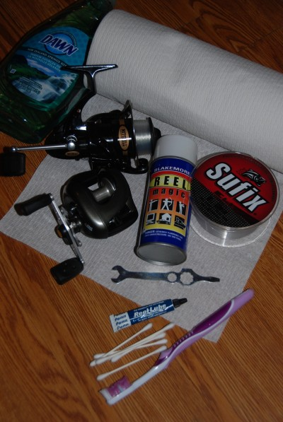 Reel maintenance requires mild soap, paper towels, swabs, and lubricants made for the job—and fresh line for the spool. Image by Dan Armitage.