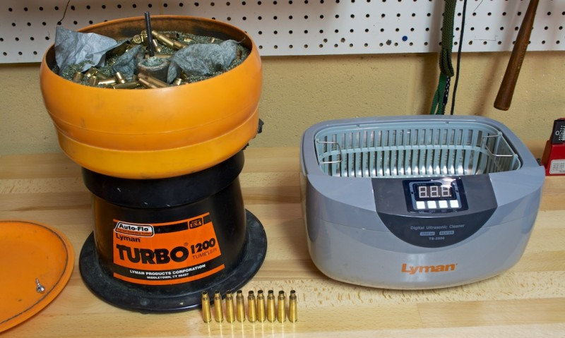 A dry brass tumbler (left) and wet ultrasonic brass cleaner, both from Lyman Products.