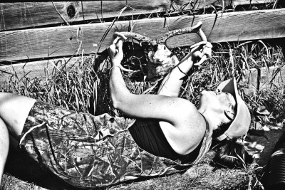 Bagging a jackalope alive, in order to determine gender, is tricky business. Lisa Jane is a 100 percent dedicated jackalope huntress.