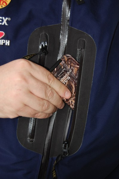 The zippered, waterproof pockets are a good place to keep your iPhone in a LifeProof case.