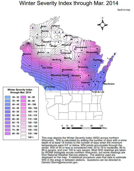 The WSI for northern Wisconsin during March 2014. The WSI for the southern part of the state is not shown on this map. Image courtesy Wisconsin DNR.
