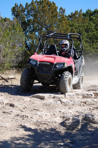 The RZR 570 can handle just about any terrain you'd find on the trail.