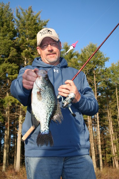 One of the best ways to catch these spring crappies involves using a long rod with a slip bobber and a minnow.