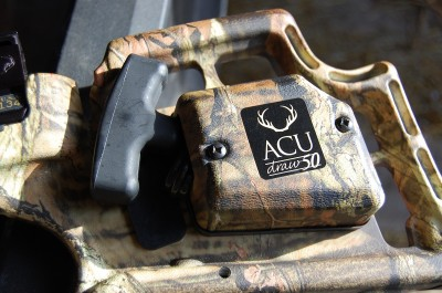 TenPoint's AccuDraw 50 cocking mechanism reduces the draw weight by 50 percent. It is one of the best crossbow cocking aids you can get.