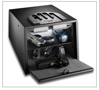 A GunVault like this one is touchpad- or fingerprint-activated, and can provide security without sacrificing instant access to your gun. Image courtesy GunVault.