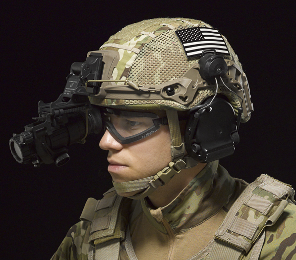 Revision's new High-Cut Batlskin Helmet features the upgraded Viper Front Mount and Interlocking Long Rails for attachment of headborne accessories and NVG.