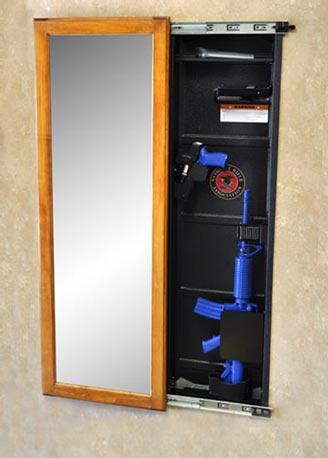 At the high end of the price spectrum are wall units like this NRA Jotto Gear Gun Cabinet. Image courtesy NRA.