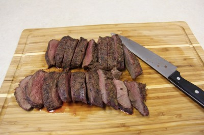 If you're using the first method, slice the loins into one-inch-thick steaks after grilling them.