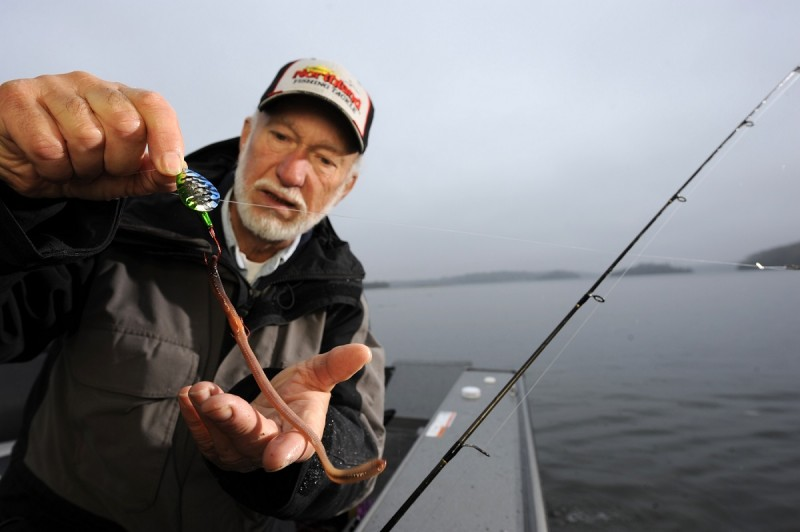 """Professional anglers such as Gary Roach know the value of a fresh-harvested """"garden hackle"""" as a prime fishing bait for just about every freshwater fish that swims. Image courtesy Frabill."""