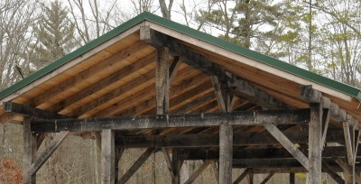 Each joint in this shelter is held together by oak pegs.