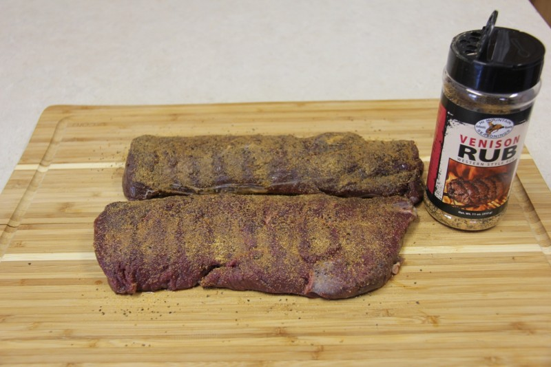 One of the author's favorite methods of preparing venison loin begins with patting the meat down with a good venison rub.