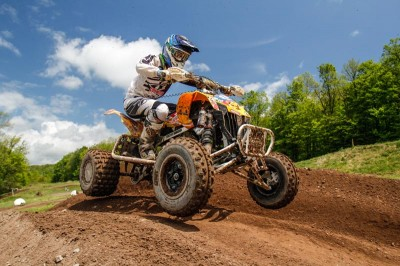 Joel Hetrick (JB Racing / Mtn. Dew Live Wire / Can-Am) put his DS 450 ATV on top of the Pro class podium at round three of the NEATV-MX series with a convincing 1-1 moto win in Pennsylvania.