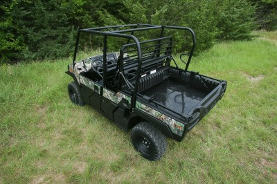 The Mule's bed and rear seat convert to give you lots of options for hauling people or cargo. It is easy to convert to. One person can do it in under a minute with one trip around the machine.