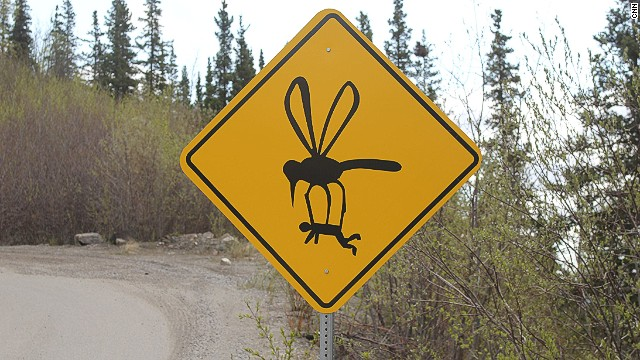 Nothing bites quite like a skeeter from Michigan's Upper Peninsula. Follow these tips to avoid getting carried away like the unfortunate fella on this sign.