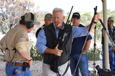 Tim Fallon (pictured with shooting sticks) and family own FTW Ranch. FTW developed SAAM to increase hunters' success rates in real-world situations.