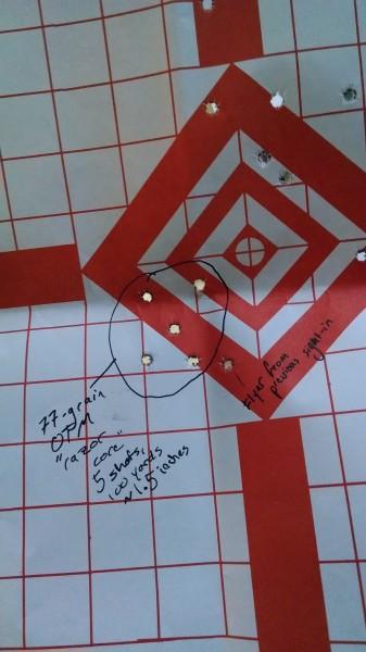 One of Matt Korovesis' 100-yard, five-shot groups with the IMI Razor Core ammo. Image by Matt Korovesis.