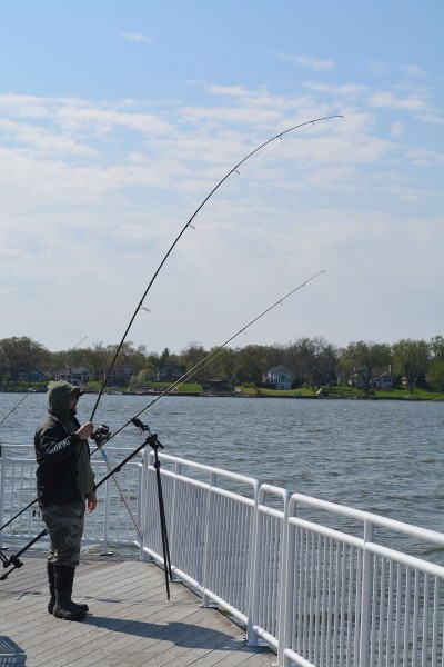 Jathan Imhausen of Greencastle, Indiana, uses a long rod to wrangle what turned out to be a 10-pound carp.