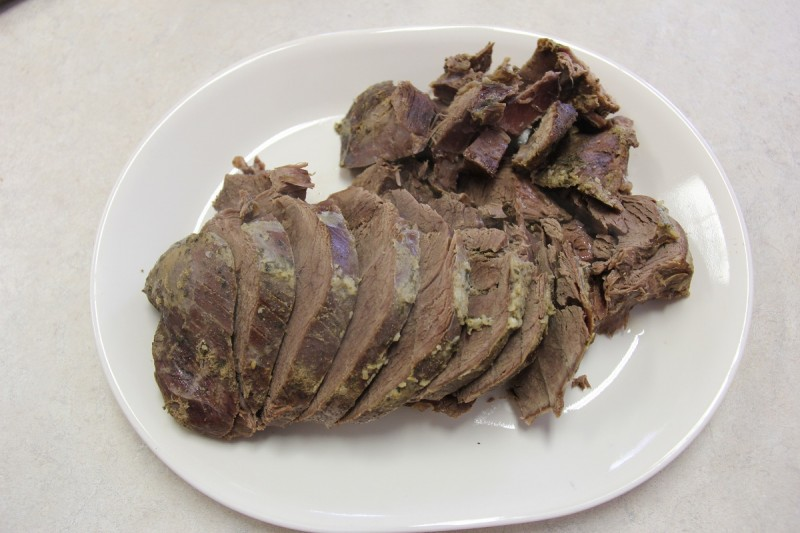 Venison roast in the slow cooker is moist and falls apart to the fork.