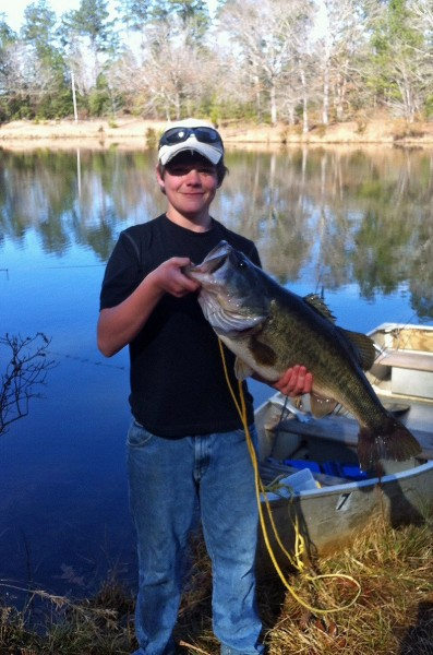 The monstrous size of the largemouth bass caught by 15-year-old Branson Linder of Jackson, Alabama, this year is evident when compared to the 10-pounder he caught several years ago.