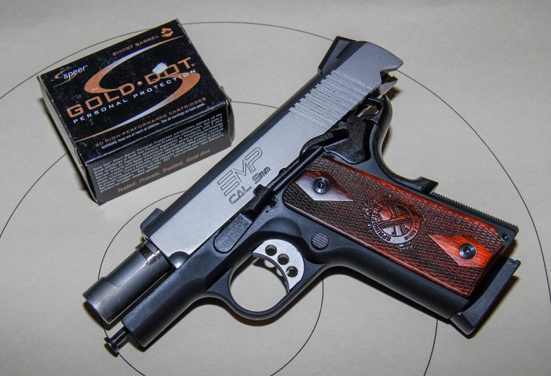 This compact 9x19mm, a Springfield Armory EMP, is a 1911 design even though it has an unconventional guide rod and no barrel bushing.