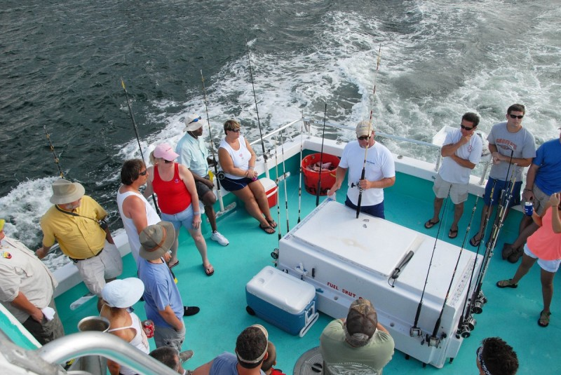 On a party boat, different individuals and groups of anglers share the expenses for the trip where all tackle, bait, and licenses are supplied.