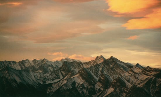 A view of the Canadian Rockies from high above Exshaw Creek. Image by Dennis Dunn.