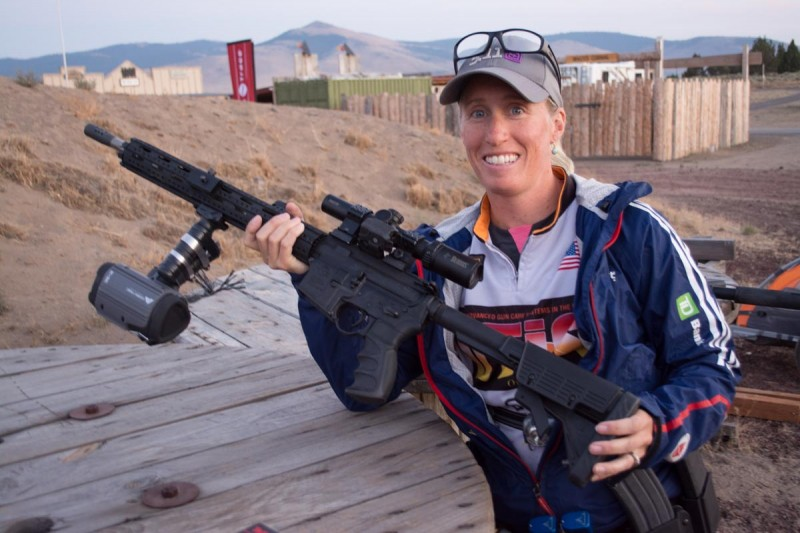 Olympic biathlete Tracy Barnes shows off here 3 billion candlepower custom light. I never could figure out where she carried the car battery...