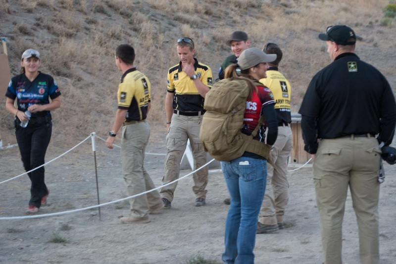 Those guys in the yellow shirts are from the Army Marksmanship Unit and they dominated. Not even Lena Miculek (left) could trash talk them off their game.