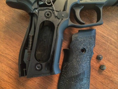 """The E2 grip profile makes this gun particularly shootable. The """"wraparound"""" grips are actually two pieces that fit together."""