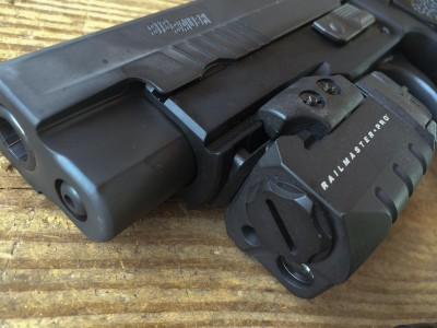 The Picatinny rail accepts light and laser accessories like this Crimson Trace Rail Master Pro.