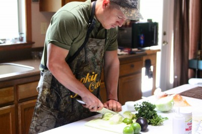 The most important part of the cooking process: making sure you have your camo apron on.