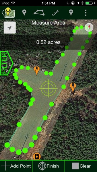 The mapping tool lets you set and measure a given area and determine its basic size and shape. It uses a crosshair tool to set the boundaries and is pretty accurate.