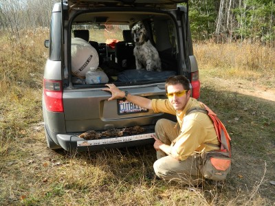 Brian Koch and his Llewellin setter, Rio. Koch says that the most important tool he carries for emergencies is his cell phone.