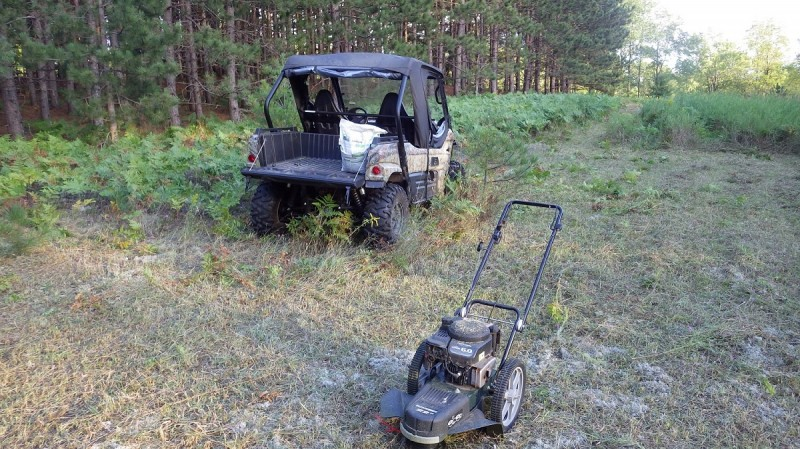 When clearing out land for a late-season plot, the author likes to use a wheeled line trimmer. It lets him get a good idea what's under the grass as he's going and lets him decide what gets cut and what doesn't.