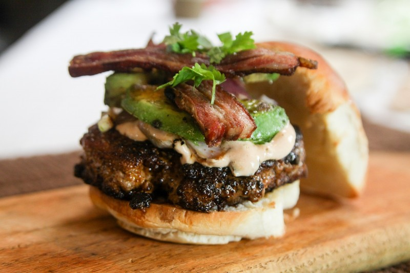 This goat burger isn't hot off the Kenyan uplands, but it'll get your mouth watering.