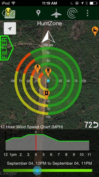 The HuntZone feature lets you know how the wind will disperse your scent across the land around your stand from given weather data.